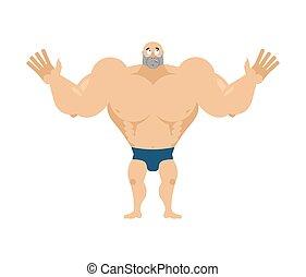 surprised., bodybuilder., atléta, agaze, sportsman., állóképesség, döbbent, pasas