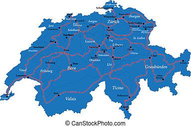 svájc, térkép
