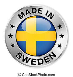 svédország, elkészített, jelvény, ezüst