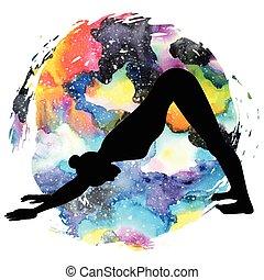 svanasana., jóga, pose., kutya, silhouette., mukha, lefelé, adho, nők