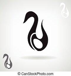 swan., stilizált, árnykép