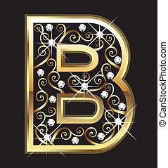 swirly, b betű, dísztárgyak, arany, levél