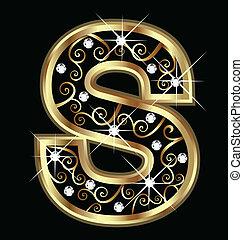 swirly, dél, dísztárgyak, arany, levél