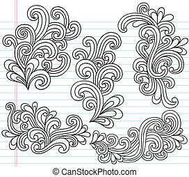 swirly, doodles, vektor, állhatatos