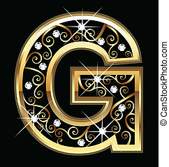 swirly, g betű, levél, arany, dísztárgyak