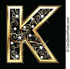 swirly, k, dísztárgyak, arany, levél