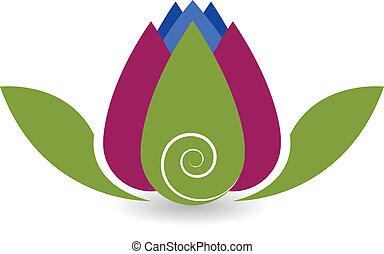 swirly, lotus virág, jóga, jel