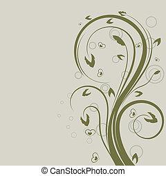 swirly, space., elem, vektor, tervezés, virágos, zöld, másol