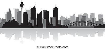 sydney égvonal, vektor, város, ausztrália, árnykép