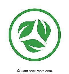 symbolizing, vegetáriánus, szerves, diéta, barátságos, jel, levél növényen
