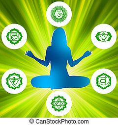 symbols., hat, eps, chakras, lelkiség, 8