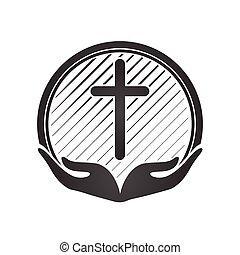 symbols., keresztény, ikonok, kézbesít, vallás, kereszt, vektor, birtok, templom, logo., vagy