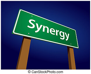 synergy, zöld, út, ábra, aláír