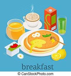 syrup., isometric., kávécserje, palacsinták, set., ikonok, ábra, joghurt, felszerelés, vektor, diet., lé, kiegyensúlyozott, szervál, reggeli, bogyók, juharfa, konyha