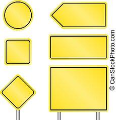 szállítás, összetett, tiszta, lengyel, sárga, nagyság, aláír, állhatatos
