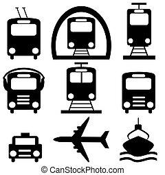 szállítás, gyűjtés, város, pictograms