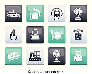 szállítás, ikonok, szín, utazás, 2, háttér, repülőtér, felett