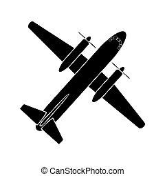 szállít, egyszerű, kép, levegő, repülőgép, légcsavar, twin-engine