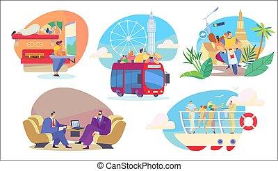 szállít, emberek, vektor, utazás, ábra, városnézés, elgáncsol, különböző, ügy