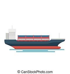 szállít, export, konténer, logisztika, hajó, szállítás, tengeri