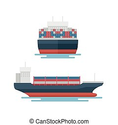 szállít, export, konténer, logisztika, szállítás, tengeri, csónakázik