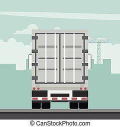 szállít, vektor, export, konténer, logisztika, trailer., tervezés