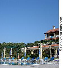 szálloda tavacska, úszás