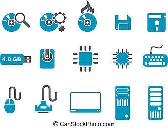 számítógép, állhatatos, ikon