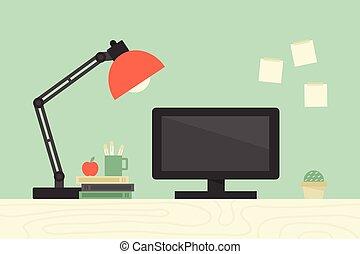 számítógép, íróasztal