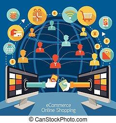 számítógép, bevásárlás, monitor, online
