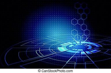 számítógép, fogalom, elvont, ábra, magas, háttér., vektor, áramkör, digitális, bizottság, technológia, futuristic