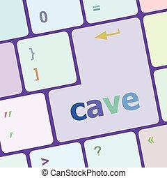 számítógép, gombol, barlang, ábra, vektor, kulcs, billentyűzet