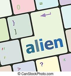 számítógép, gombol, beír, ábra, külföldi, vektor, kulcs, billentyűzet