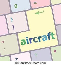 számítógép, gombol, beír, ábra, repülőgép, vektor, kulcs, billentyűzet