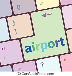 számítógép, gombol, beír, ábra, repülőtér, vektor, kulcs, billentyűzet
