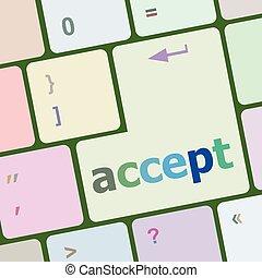 számítógép, gombol, beír, ábra, vektor, elfogad, kulcs, billentyűzet