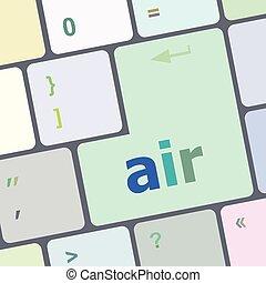 számítógép, gombol, billentyűzet, ábra, levegő, vektor, kulcs, beír