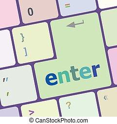 számítógép, gombol, billentyűzet, ábra, számítógép, vektor, kulcs, beír