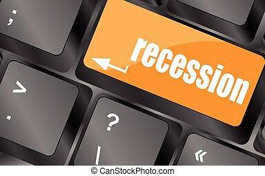 számítógép, gombol, kulcs, ábra, gazdasági pangás, vektor, billentyűzet
