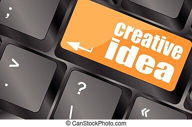 számítógép, gondolat, ábra, kreatív, vektor, kulcs, billentyűzet, gombol