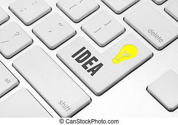számítógép, gondolat, kulcs, billentyűzet