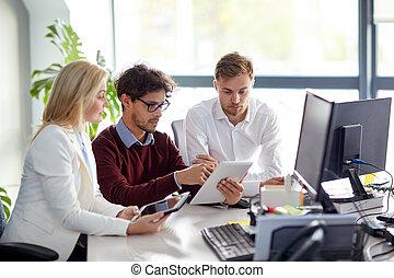 számítógép, hivatal, tabletta, ügy sportcsapat