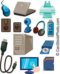 számítógép, karikatúra, ikon