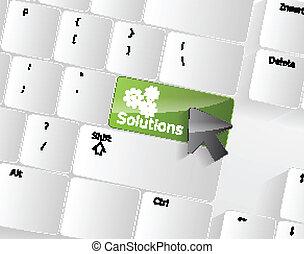 számítógép, megoldások, kulcs, billentyűzet