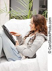 számítógép, nő, számítógép, tabletta, boldog
