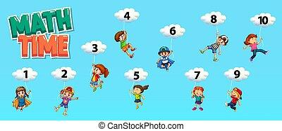 szám, ég, egy, poszter, tervezés, matek, tíz