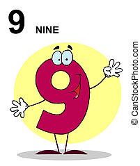számok, betű, boldog, 9, karikatúra