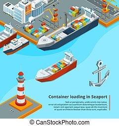 száraz, rakomány, isometric, ipari, work., tengeri, ábra, containers., hajó