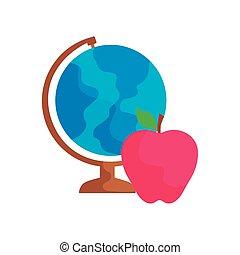 szárazföldi földgolyó, gyümölcs, alma