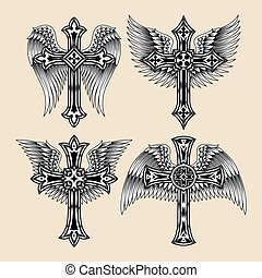 szárnyas, állhatatos, kereszt